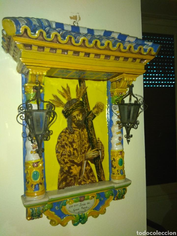 Arte: Antiguo Retablo Cerámico Jesús Del Gran Poder - Foto 2 - 139098413