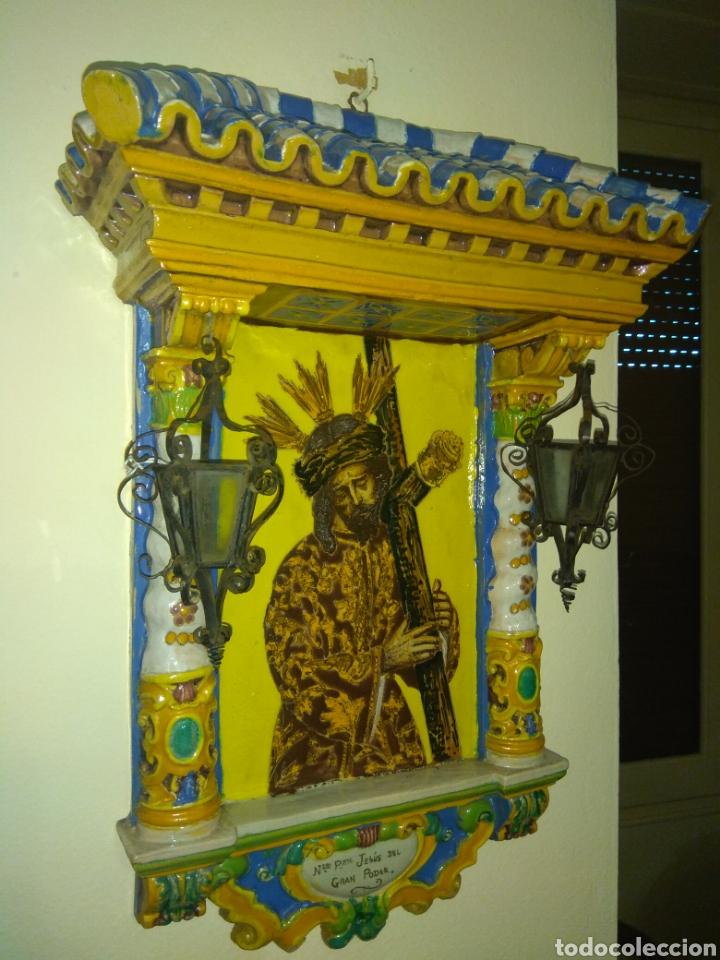 Arte: Antiguo Retablo Cerámico Jesús Del Gran Poder - Foto 3 - 139098413