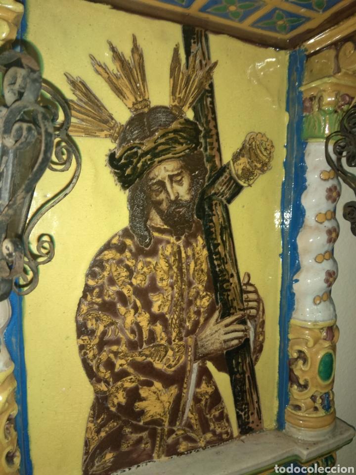 Arte: Antiguo Retablo Cerámico Jesús Del Gran Poder - Foto 4 - 139098413