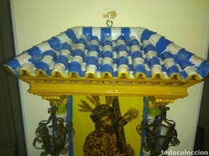 Arte: Antiguo Retablo Cerámico Jesús Del Gran Poder - Foto 7 - 139098413