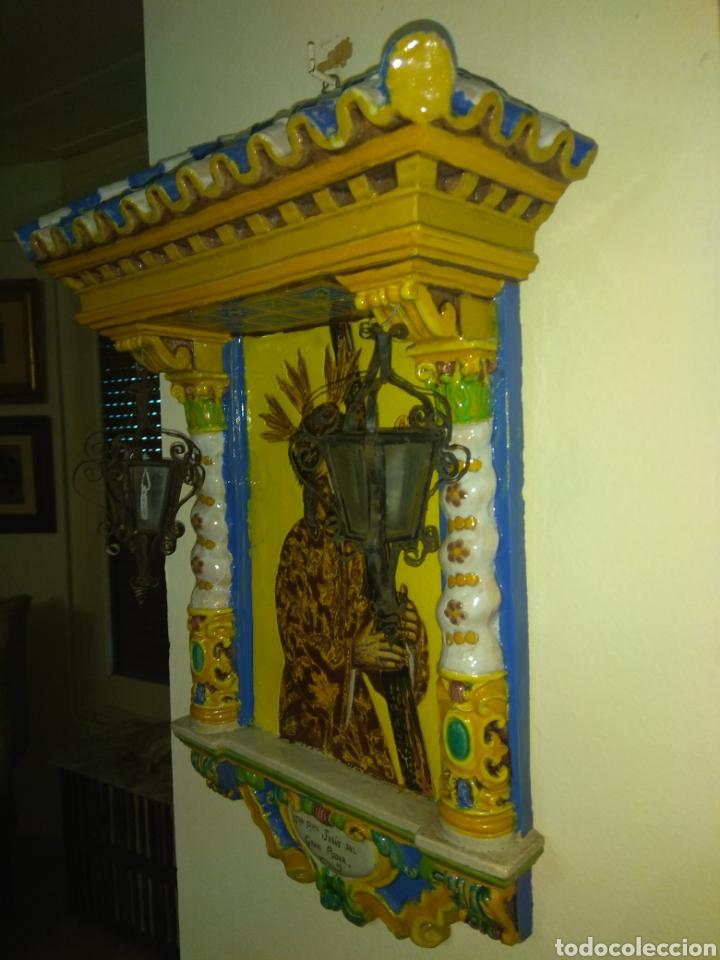Arte: Antiguo Retablo Cerámico Jesús Del Gran Poder - Foto 8 - 139098413