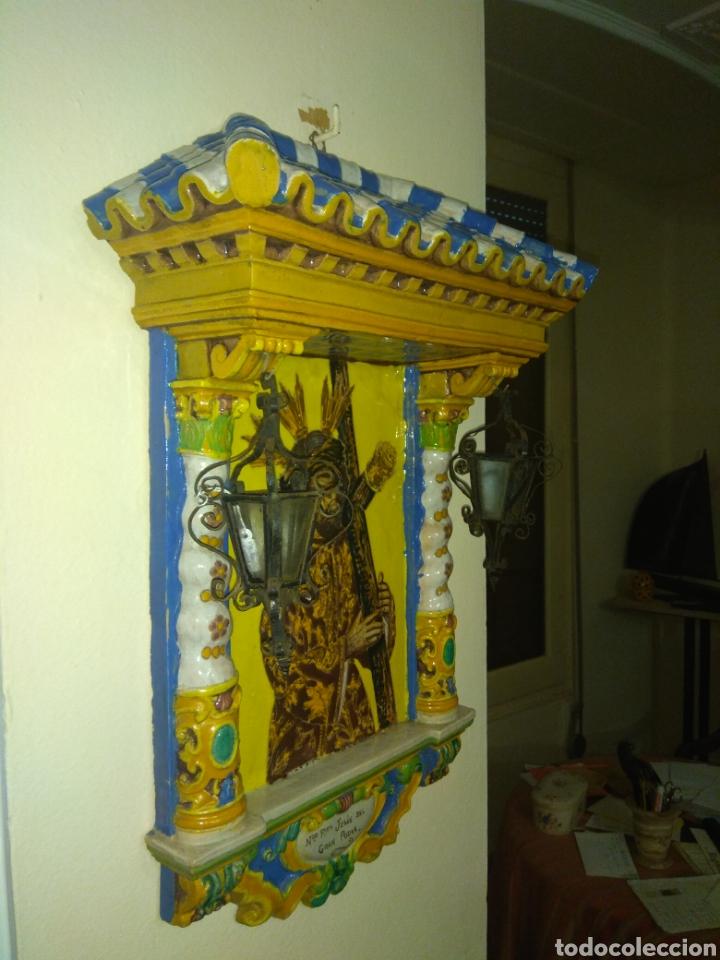 Arte: Antiguo Retablo Cerámico Jesús Del Gran Poder - Foto 9 - 139098413
