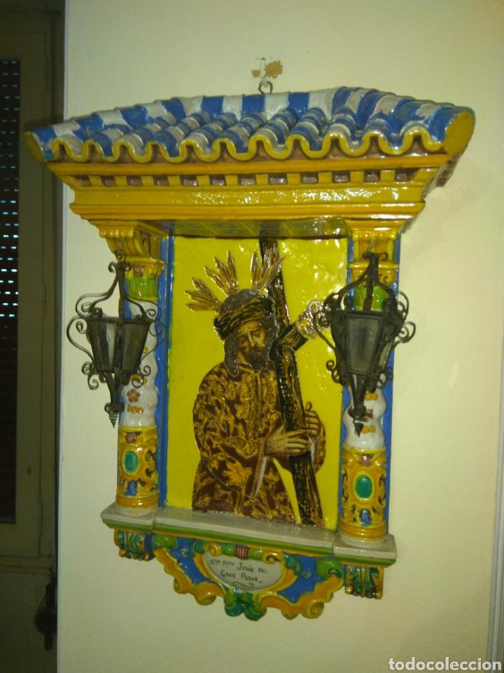Arte: Antiguo Retablo Cerámico Jesús Del Gran Poder - Foto 10 - 139098413