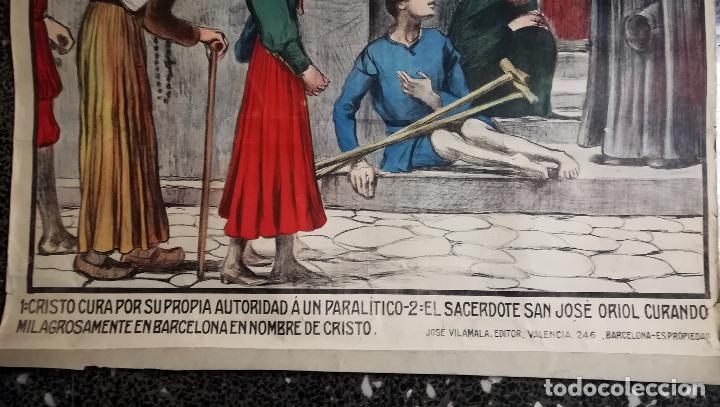 Arte: Cartel nº 10- LA REDENCION- MILAGROS DE JESUCRISTO. Ilustraciones Llimona . Edit.- José Vilamala. - Foto 2 - 139119546