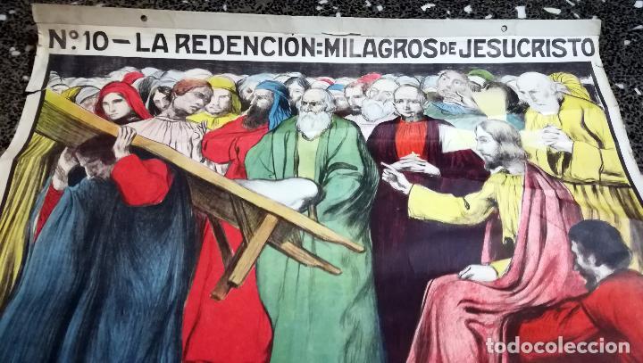 Arte: Cartel nº 10- LA REDENCION- MILAGROS DE JESUCRISTO. Ilustraciones Llimona . Edit.- José Vilamala. - Foto 3 - 139119546