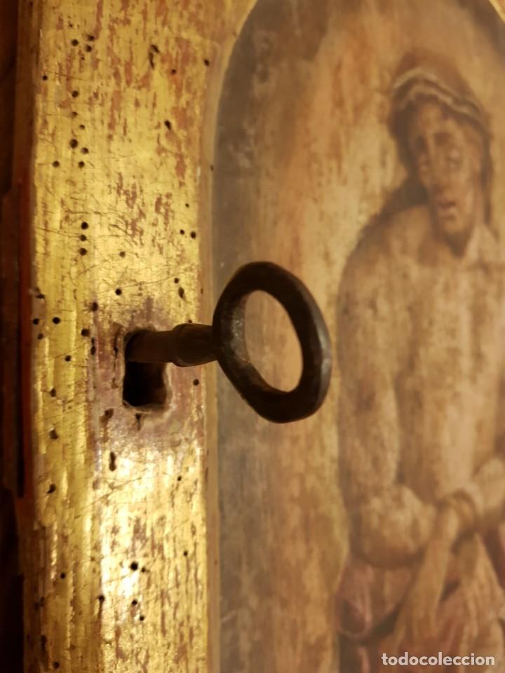 Arte: Óleo sobre tabla de roble. Puerta de sagrario. Resurrección de Cristo. Escuela española. S. XVI-XVII - Foto 5 - 119485299