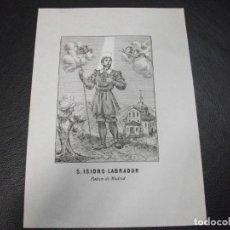 Arte: SIGLO XIX SAN ISIDRO LABRADOR PATRON DE MADRID - RELIGION. Lote 139214602