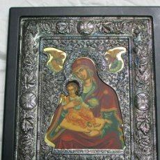 Arte: BONITO ICONO BIZANTINO VIRGEN CON NIÑO Y ANGELITOS PLATA 950. Lote 138817854