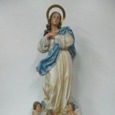 Arte: PRECIOSA VIRGEN PURÍSIMA - ESTUCO POLICROMADO - 89 CM ALTURA - SELLO EL ARTE CRISTIANO, OLOT. Lote 139312310
