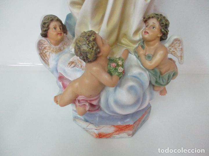 Arte: Preciosa Virgen Purísima - Estuco Policromado - 89 cm Altura - Sello El Arte Cristiano, Olot - Foto 3 - 139312310