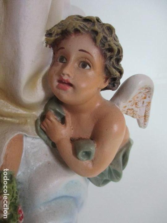Arte: Preciosa Virgen Purísima - Estuco Policromado - 89 cm Altura - Sello El Arte Cristiano, Olot - Foto 5 - 139312310