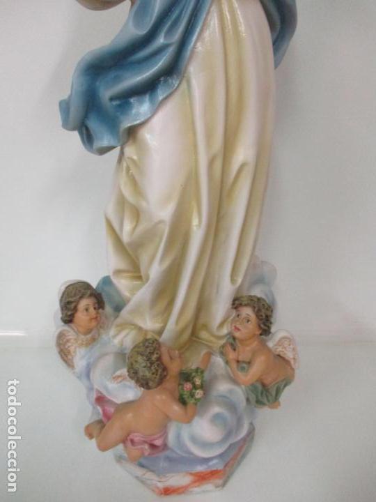 Arte: Preciosa Virgen Purísima - Estuco Policromado - 89 cm Altura - Sello El Arte Cristiano, Olot - Foto 9 - 139312310