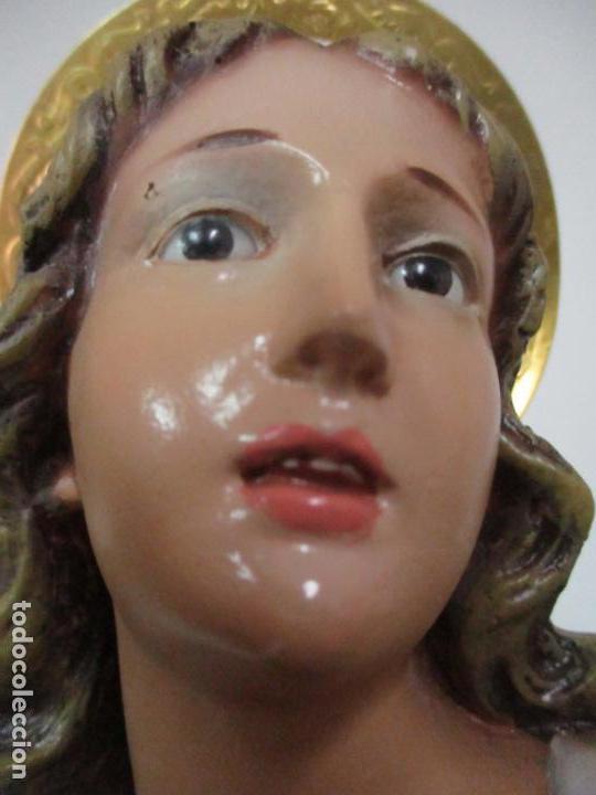 Arte: Preciosa Virgen Purísima - Estuco Policromado - 89 cm Altura - Sello El Arte Cristiano, Olot - Foto 15 - 139312310