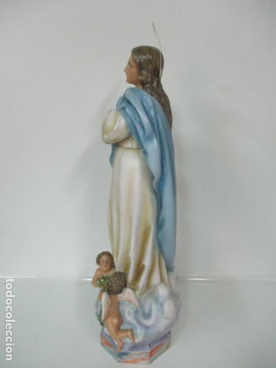 Arte: Preciosa Virgen Purísima - Estuco Policromado - 89 cm Altura - Sello El Arte Cristiano, Olot - Foto 17 - 139312310