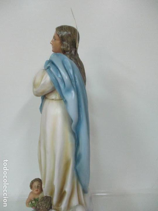 Arte: Preciosa Virgen Purísima - Estuco Policromado - 89 cm Altura - Sello El Arte Cristiano, Olot - Foto 19 - 139312310