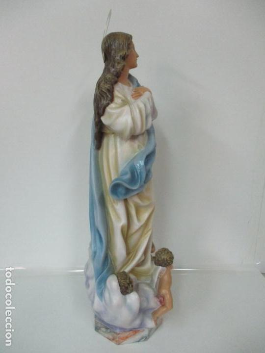 Arte: Preciosa Virgen Purísima - Estuco Policromado - 89 cm Altura - Sello El Arte Cristiano, Olot - Foto 25 - 139312310