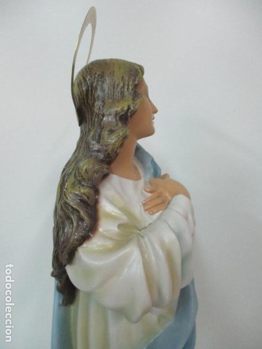 Arte: Preciosa Virgen Purísima - Estuco Policromado - 89 cm Altura - Sello El Arte Cristiano, Olot - Foto 27 - 139312310