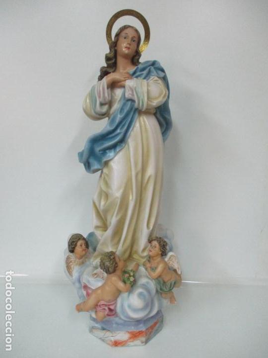 Arte: Preciosa Virgen Purísima - Estuco Policromado - 89 cm Altura - Sello El Arte Cristiano, Olot - Foto 32 - 139312310