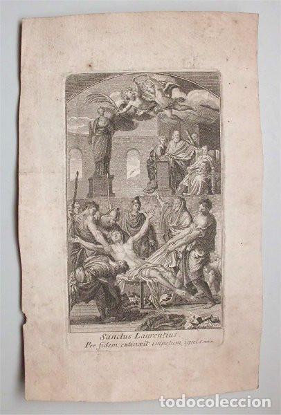 Arte: Antiguo grabado del martirio de San Lorenzo (siglo XVII-XVIII) Pintado por Eustache Le Sueur - Foto 2 - 139338126