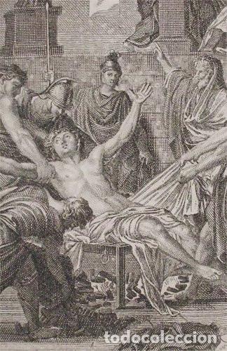 ANTIGUO GRABADO DEL MARTIRIO DE SAN LORENZO (SIGLO XVII-XVIII) PINTADO POR EUSTACHE LE SUEUR (Arte - Arte Religioso - Grabados)