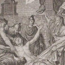 Arte: ANTIGUO GRABADO DEL MARTIRIO DE SAN LORENZO (SIGLO XVII-XVIII) PINTADO POR EUSTACHE LE SUEUR . Lote 139338126