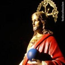 Arte: CRISTO REY EL ARTE CRISTIANO PASTA DE MADERA GRANDES MEDIDAS 92CM. Lote 139284066