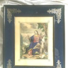 Arte: SAN JUAN EVANGELISTA GRABADO Y MARCO S XIX, PERFIL CRISTAL AZUL MARINO Y PLATA. MED. 45 X 53 CM. Lote 139437806