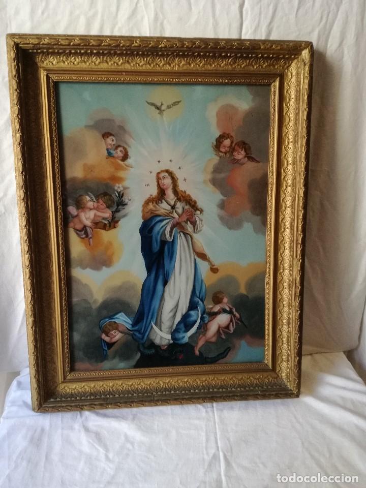 INMACULADA PINTADA BAJO CRISTAL EN EL SIGLO XIX. (Arte - Arte Religioso - Pintura Religiosa - Oleo)