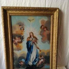 Arte: INMACULADA PINTADA BAJO CRISTAL EN EL SIGLO XIX.. Lote 139541858