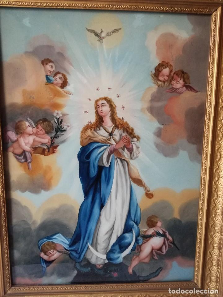 Arte: INMACULADA PINTADA BAJO CRISTAL EN EL SIGLO XIX. - Foto 2 - 139541858