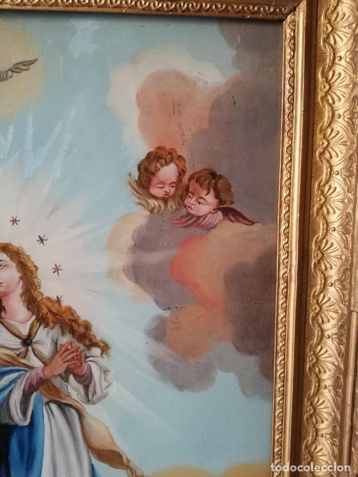 Arte: INMACULADA PINTADA BAJO CRISTAL EN EL SIGLO XIX. - Foto 4 - 139541858