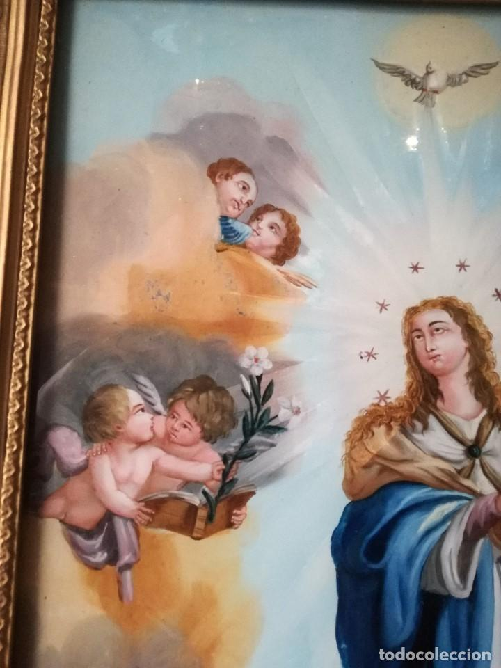 Arte: INMACULADA PINTADA BAJO CRISTAL EN EL SIGLO XIX. - Foto 6 - 139541858