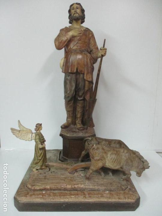 IMPRESIONANTE IMAGEN DE SAN ISIDRO LABRADOR - PATRÓN DE LA CIUDAD DE MADRID - PIEZA ÚNICA - S. XIX (Arte - Arte Religioso - Escultura)
