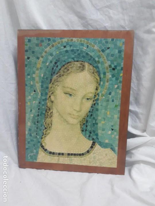 CUADRO VINTAGE MADONNA CON TÉCNICA MOSAICO AÑOS 70 FIRMADO JANDRO (Arte - Arte Religioso - Pintura Religiosa - Otros)