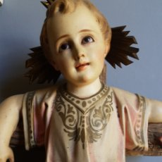 Arte - Jesús en Cruz(SXIX).49cm - Pasta de Madera.ojos Vidrio.doble peana.Sello olot. - 139632553