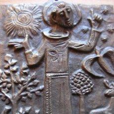 Arte: ICONO DE METAL EN RELIEVE DE SAN FRANCISCO DE ASIS. Lote 139712530
