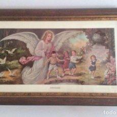 Arte: CUADRO CON LAMINA REPRODUCCION EL ANGEL DE LA GUARDA. Lote 139731546