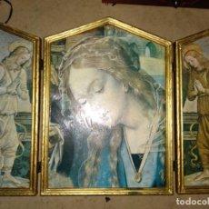 Arte: TRIPTICO MADERA RELIGIOSO MARIA Y ÁNGELES 28X18,5 CM. Lote 139752402