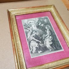 Arte: GRABADO DE LA ANUNCIACIÓN, S. XVII CON MARCO DORADO DE ÉPOCA.. Lote 139822622