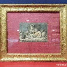 Arte: GRABADO DE LA VIRGEN, EL NIÑO Y SAN JUANITO, S. XVII CON MARCO DORADO DE ÉPOCA.. Lote 139822926