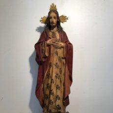 Arte: SAGRADO CORAZON DE JESUS DE PASTA DE MADERA ANTIGUO PARA RESTAURAR, SELLO OLOT. 60CM. Lote 139938598