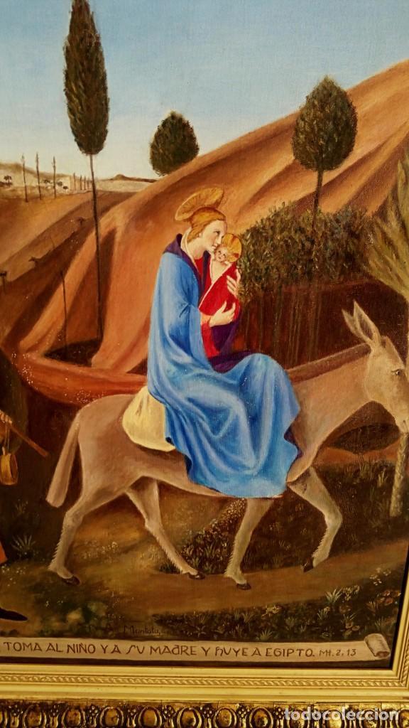 OLEO SOBRE LIENZO. SAGRADA FAMILIA. FIRMADO MONTOTO. (Arte - Arte Religioso - Pintura Religiosa - Oleo)