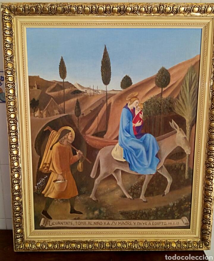 Arte: Oleo sobre lienzo. Sagrada Familia. Firmado Montoto. - Foto 2 - 139979814