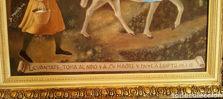 Arte: Oleo sobre lienzo. Sagrada Familia. Firmado Montoto. - Foto 4 - 139979814