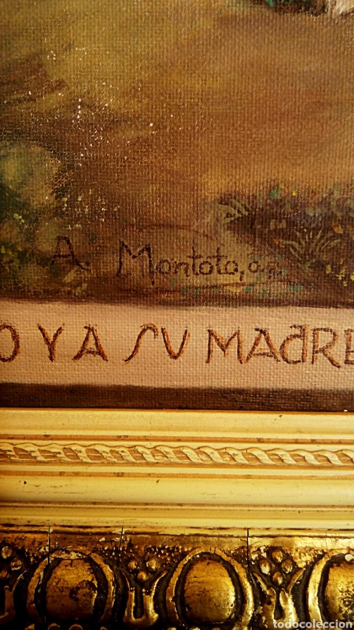 Arte: Oleo sobre lienzo. Sagrada Familia. Firmado Montoto. - Foto 6 - 139979814
