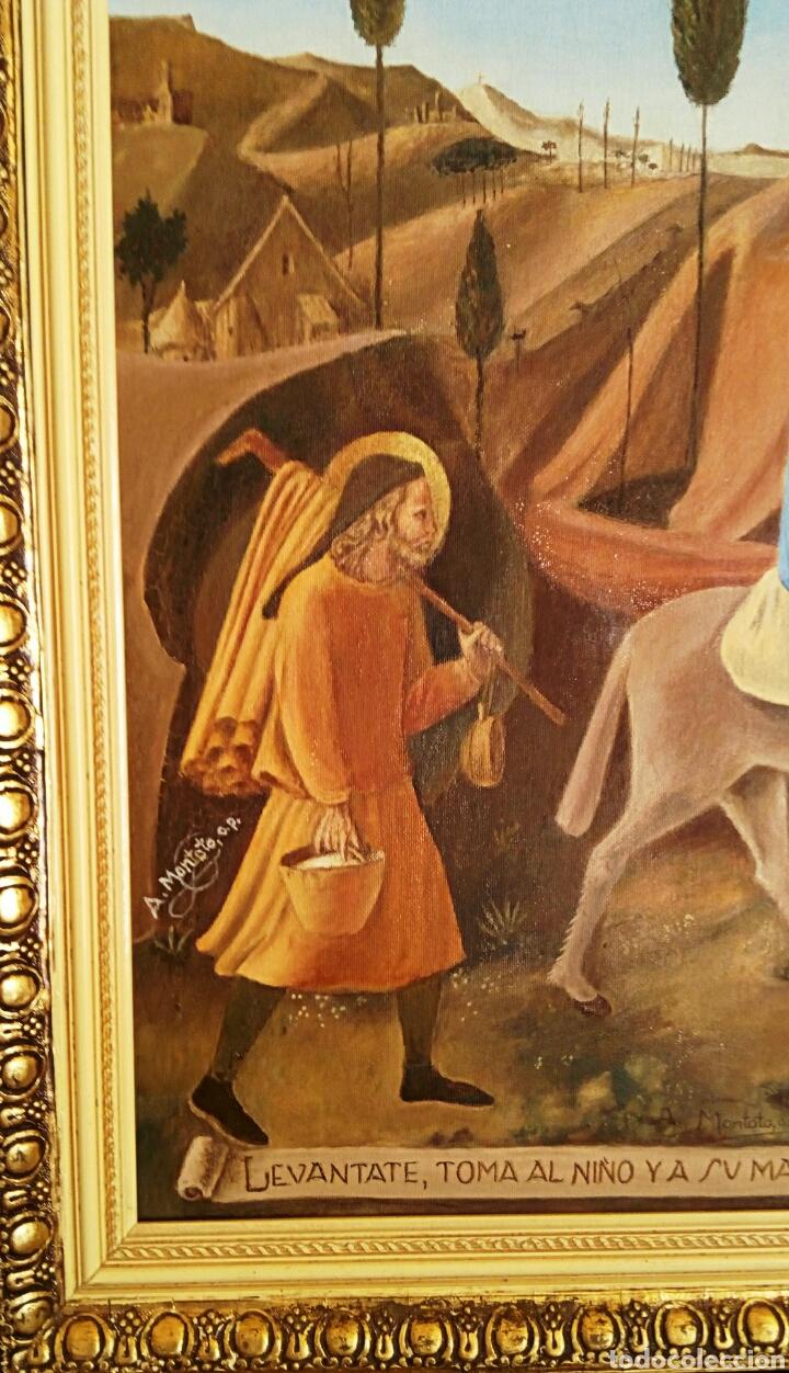 Arte: Oleo sobre lienzo. Sagrada Familia. Firmado Montoto. - Foto 7 - 139979814