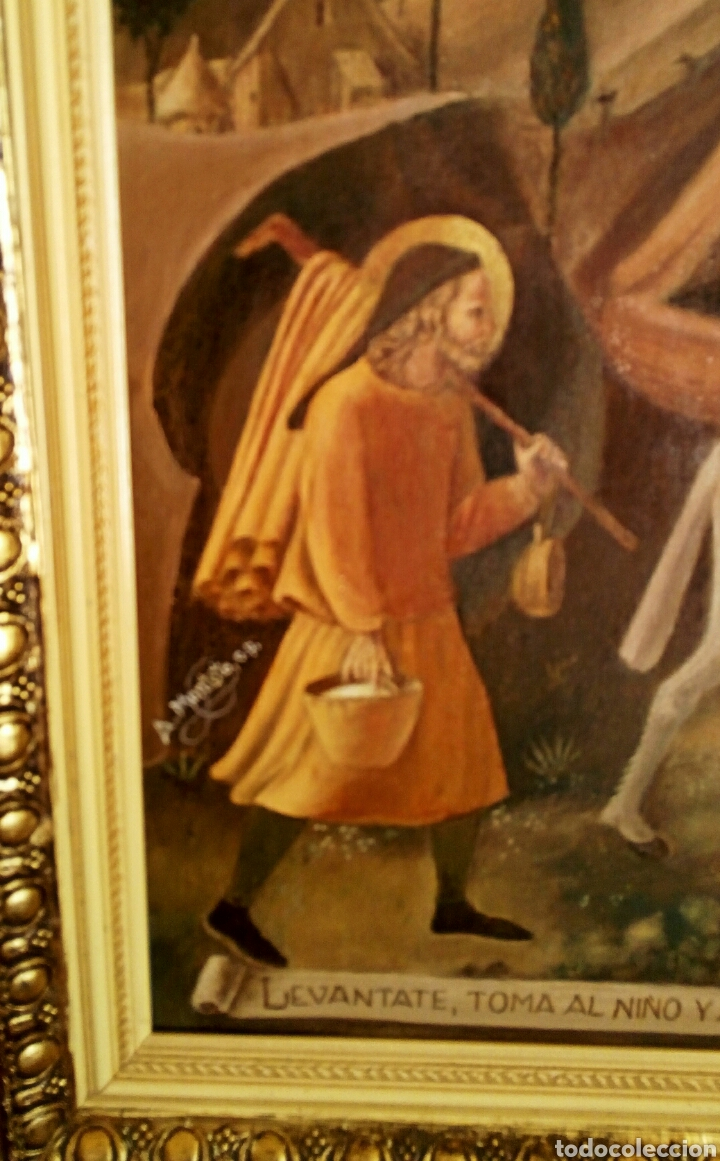 Arte: Oleo sobre lienzo. Sagrada Familia. Firmado Montoto. - Foto 9 - 139979814