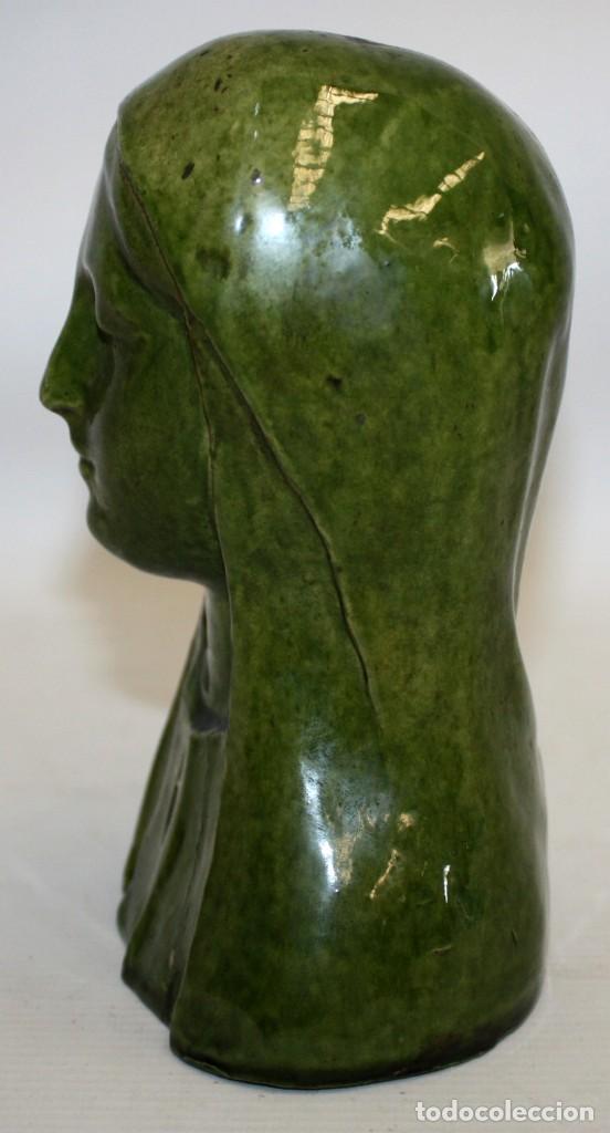 Arte: BUSTO DE LA VIRGEN DE EPOCA MODERNISTA EN CERAMICA VIDRIADA. CIRCA 1910 - Foto 5 - 140131538