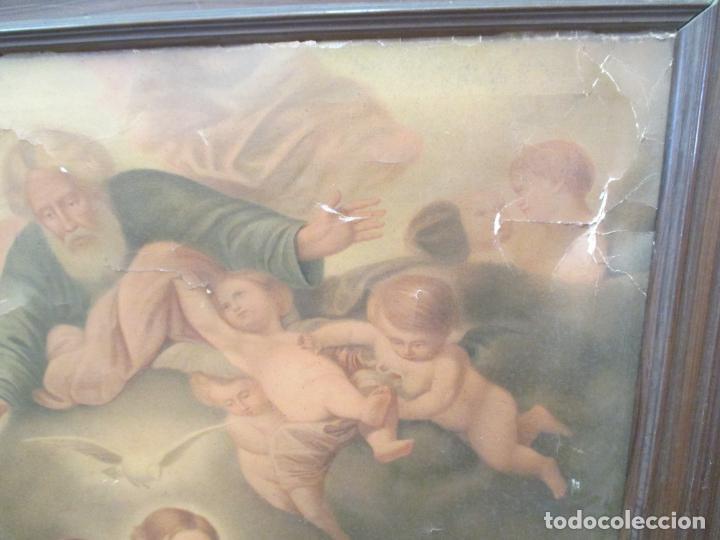Arte: ANTIGUO CUADRO RELIGIOSO. LÁMINA SOBRE LIENZO. 103 X 83 CM - Foto 5 - 140207194