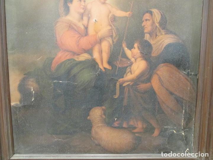 Arte: ANTIGUO CUADRO RELIGIOSO. LÁMINA SOBRE LIENZO. 103 X 83 CM - Foto 6 - 140207194